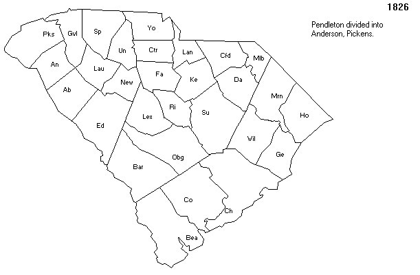 Pendleton County, South Carolina divided into Pickens and Anderson Counties